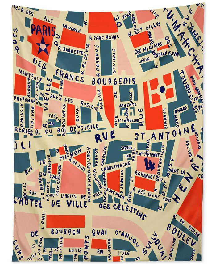Deny Designs - Holli Zollinger Paris Map Blue Tapestry
