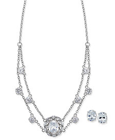 Nina Silver-Tone Cubic Zirconia Collar Necklace and Stud Earrings Set
