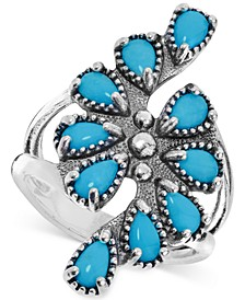 Genuine Turquoise (1-1/2 ct. t.w.) Cluster Statement Ring in Sterling Silver