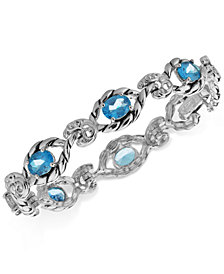 Blue Topaz Open Link Bracelet (7-3/4 ct. t.w.) in Sterling Silver