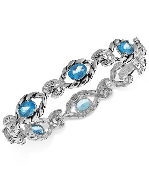Carolyn Pollack Blue Topaz Open Link Bracelet (7-3/4 ct. t.w.) in Sterling Silver