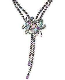 Freshwater Peacock Pearl (5mm) & Multi-Gemstone (33 ct. t.w.) Dragonfly Lariat Necklace in Sterling Silver