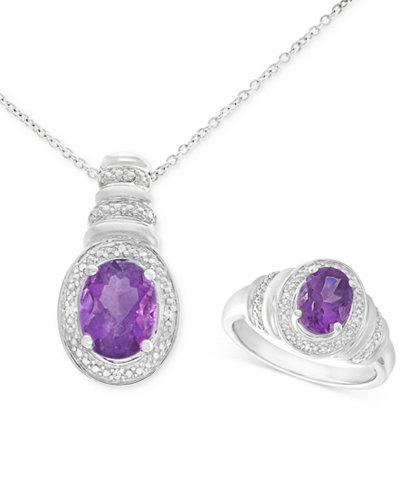 Amethyst (2-1/10 ct. t.w.) and Diamond Accent Pendant Necklace and Matching Ring Set in Sterling Silver