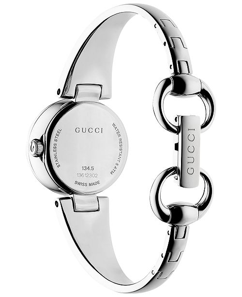 587abae17f0 ... Gucci Women s Swiss Guccissima Diamond Accent Stainless Steel Bangle  Bracelet Watch 27mm YA134504 ...
