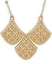 Filigree Triple Drop Pendant Necklace in 10k Gold