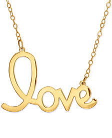 "Scripted ""love"" Pendant Necklace in 14k Gold"