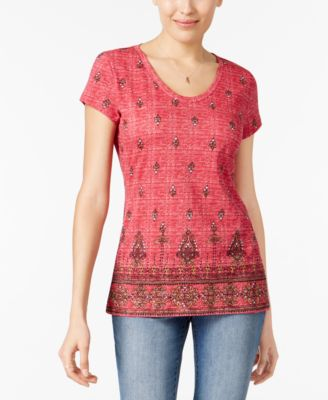 Image of Style & Co Cotton Printed T-Shirt, Only at Macy's