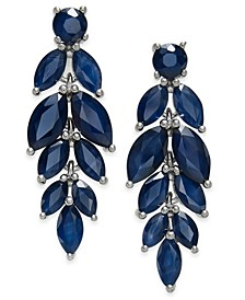 Blue Sapphire (6-1/2 ct. t.w.) & White Sapphire (1/2 ct. t.w.) Chandelier Earrings in Sterling Silver, Created for Macy's
