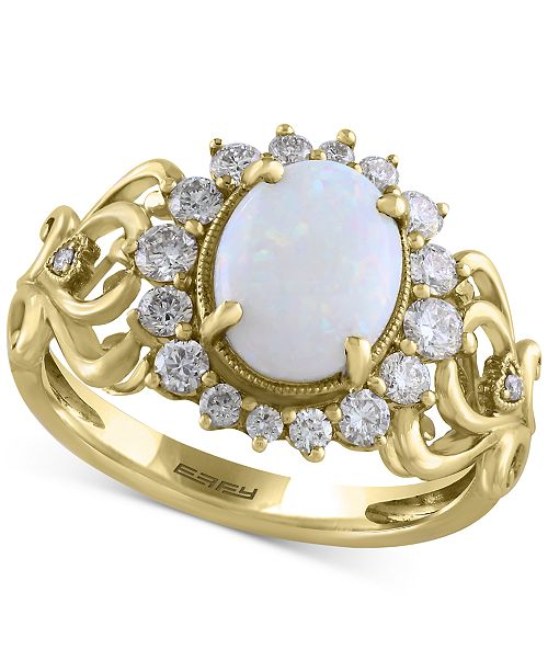 EFFY Collection Final Call by EFFY® Opal (9/10 ct. t.w.) & Diamond (1/2 ct. t.w.) Ring in 14k Gold