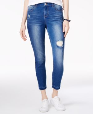 Vanilla Star Juniors' Ripped Released-Hem Skinny Jeans 4663195