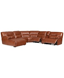 CLOSEOUT! Beckett 6-pc Leather Sectional Sofa with Chaise, Console and 2 Power Recliners, Created for Macy's