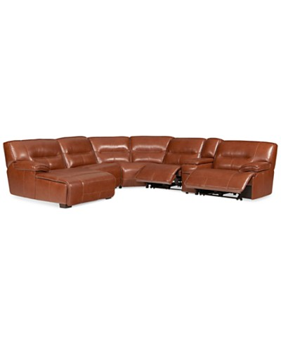 Beckett 6-pc Leather Sectional Sofa with Chaise with 2 Power Recliner, Created for Macy's