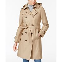 London Fog Hooded Belted Trench Coat (Multiple Colors)