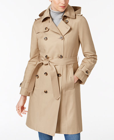 london fog hooded belted trench coat coats women macy 39 s. Black Bedroom Furniture Sets. Home Design Ideas