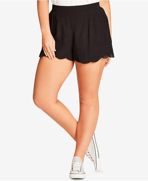 City Chic Trendy Plus Size Lace Trim Shorts Reviews Shorts Plus