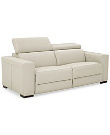 """Nevio 82"""" 2-pc Leather Sofa with 2 Power Recliners and Articulating Headrests, Created for Macy's"""