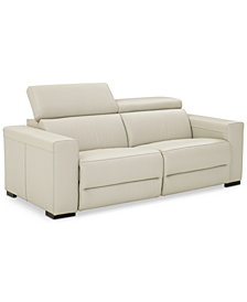 "Nevio 82"" 2-pc Leather Sofa with 2 Power Recliners and Articulating Headrests, Created for Macy's"