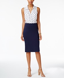 NY Collection Printed Blouse & ECI Pencil Skirt