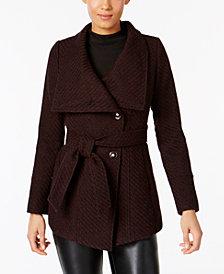 I.N.C. Asymmetrical Belted Walker Coat, Created for Macy's