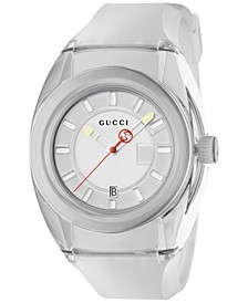 Unisex Swiss Gucci Sync White Transparent Rubber Strap Watch 46mm