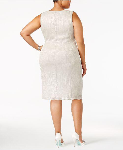 R&M Richards Plus Size Sleeveless Metallic Dress and Jacket