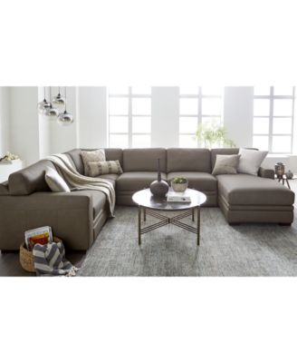 Avenell 3-Piece Leather Sectional Sofa with Chair, Created for Macy\'s