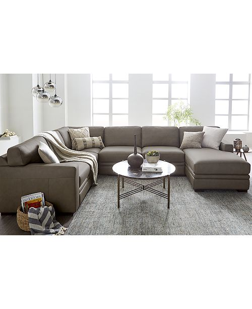 Macys Furniture Clearance: Furniture Avenell Leather Sectional And Sofa Collection