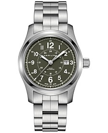 Men's Swiss Automatic Khaki Field Stainless Steel Bracelet Watch 42mm