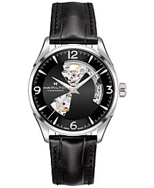 Hamilton Men's Swiss Automatic Jazzmaster Black Leather Strap Watch 40mm