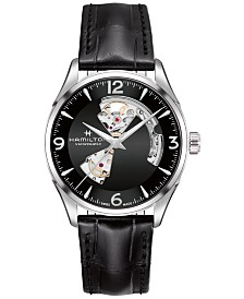 nice watches for men shop nice watches for men macy s hamilton men s swiss automatic jazzmaster black leather strap watch 40mm