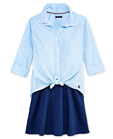 Tommy Hilfiger Big Girls Striped Button-Front Shirt & Ponte Skirt Separates
