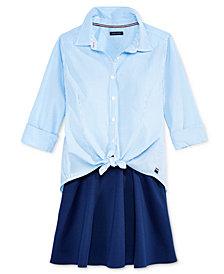 Tommy Hilfiger Big Girls Striped Button-Front Shirt & Ponte Skirt Separates