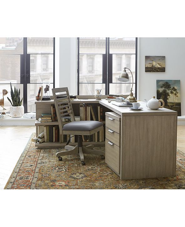 Furniture Ridgeway Home Office Furniture, 4-Pc. Set (Return Desk, Peninsula USB Outlet Bookcase, Desk Chair & Mobile File Cabinet), Created for Macy's