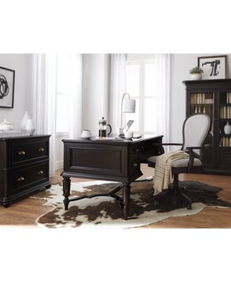 Home Office L Shaped Desk clinton hill ebony home office l-shaped desk, created for macy's