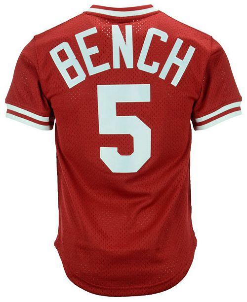 best service 76e94 cfa82 Men's Johnny Bench Cincinnati Reds Authentic Mesh Batting Practice V-Neck  Jersey