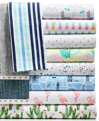 Whim by Martha Stewart Collection Novelty Print Sheet Sets, 200 Thread Count 100% Cotton Percale, Only at Macy's