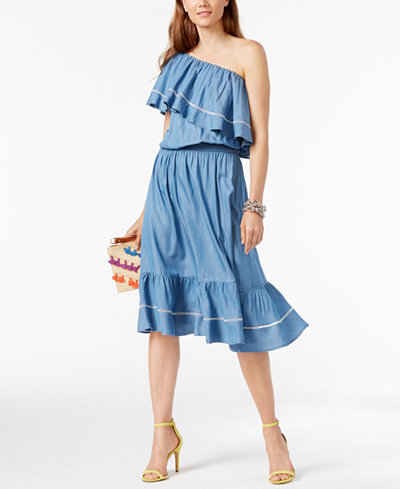 INC International Concepts One-Shoulder Denim Dress, Created for Macy's