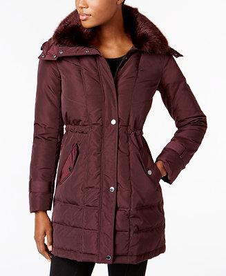 4c17eb4c61 Kenneth Cole Faux-Fur-Collar Hooded Down Puffer Coat   Reviews - Coats -  Women - Macy s