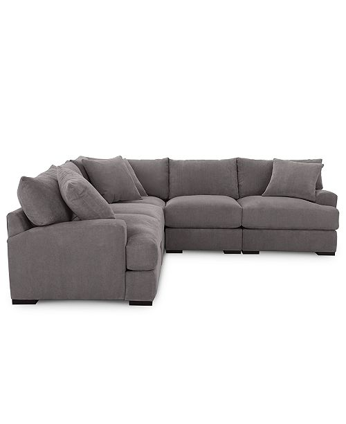 Furniture Rhyder 5 Pc Fabric Sectional Sofa With Armless Chair Created For Macy S Amp Reviews