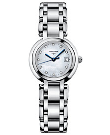 Longines Women's PrimaLuna Diamond Accent (1/3 ct. t.w.) Stainless Steel Bracelet Watch L81104876