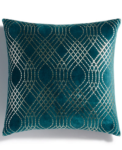 Holiday Lane Teal Diamond Foil Printed Decorative Pillow, Created for Macy's