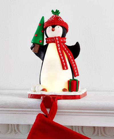 Holiday Lane Light-Up Penguin Stocking Holder, Created for