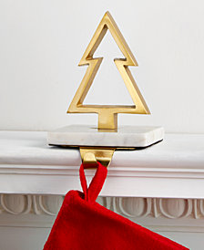 Holiday Lane Gold-Tone Christmas Tree Stocking Holder with Marble Base, Created for Macy's
