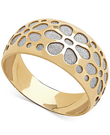 Two-Tone Flower Glitter Band in 14k Gold