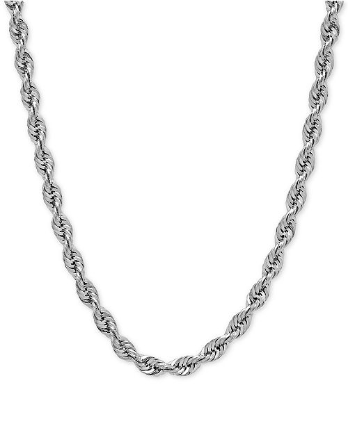 Macy's Rope Chain Slider Necklace in 14k White Gold