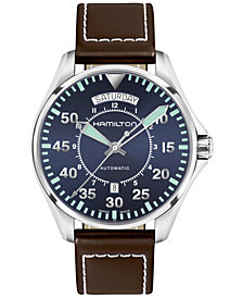 Hamilton Men's Swiss Automatic Khaki Aviation Brown Leather Strap Watch 42mm
