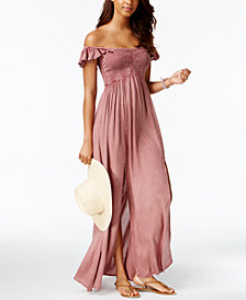 Raviya Off-The-Shoulder Ruffled Maxi Cover-Up