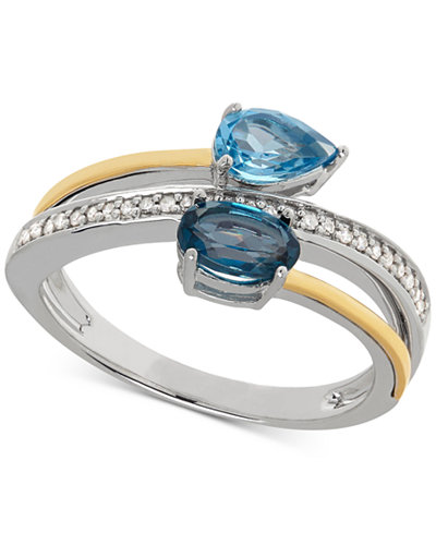 Blue Topaz (1 ct. t.w.) & Diamond Accent Bypass Ring in Sterling Silver and 14k Gold