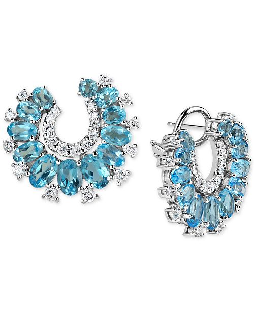 Macy's Blue Topaz (6-2/5 ct. t.w.) & Diamond (9/10 ct. t.w.) Drop Earrings in 14k White Gold