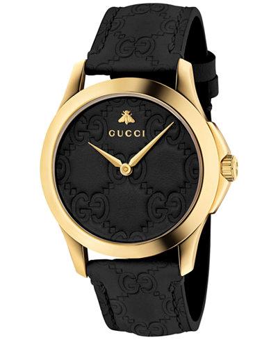 4de7a2de524 Gucci Unisex Swiss G-Timeless Black Leather Strap Watch 38mm - Watches -  Jewelry